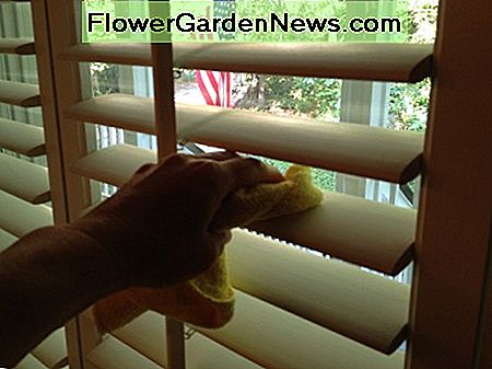 Wipe blinds down with a damp cloth.