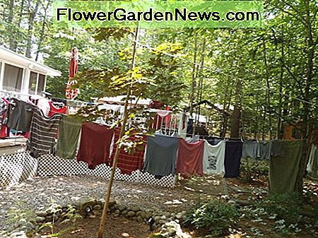 I save 1 or 2 dollars per load by hanging my clothes out. I don't have much back yard, so the shirts dry on hangers on the deck railing.