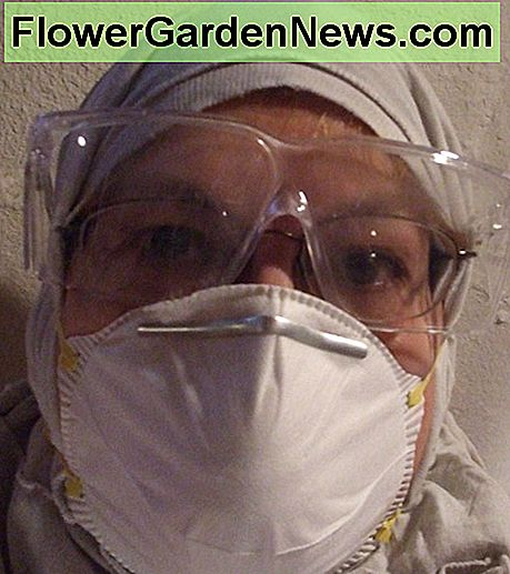 For working above your head on mold cleaning, include a respirator, goggles and a covering for your hair.