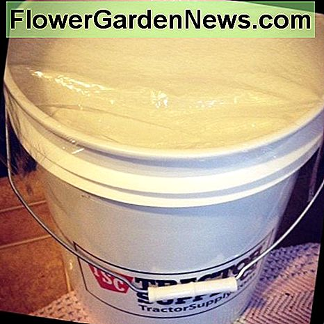 A completed 5 gallon bucket of homemade laundry soap.