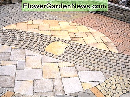 Polymeric sand between a medley of paver shapes & sizes.