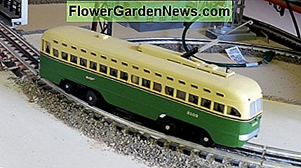 Miniature train (HO scale) inside with polymeric sand ballast.
