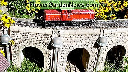 Garden train (LGB) outside with polymeric sand ballast.