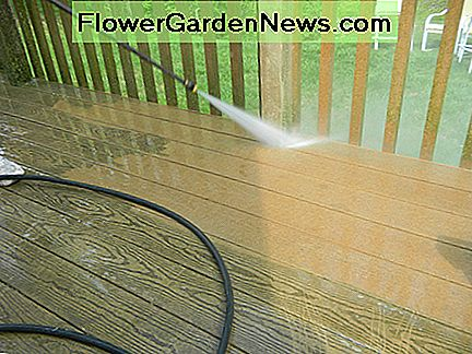 Pressure washing your deck is a good idea to remove deep set stains and mildew