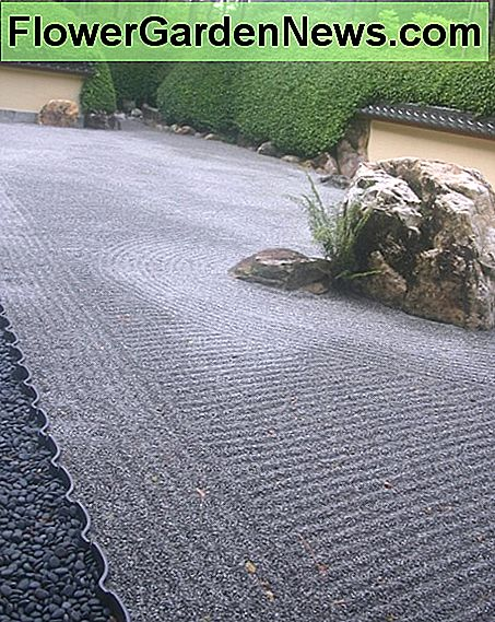 This view of the full length of the garden gives the feeling of both safety and space that a Zen garden inspires.