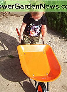 Moving dirt and rocks is much easier with a toddler-sized wheelbarrow.