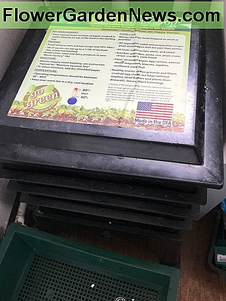 The Worm Factory 360 multi-tray vermicomposting system, which is kept in my laundry room.