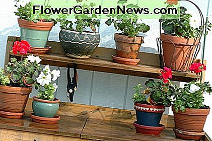 Potting benches allow you to stand upright, keeping back and knees in comfortable positions.
