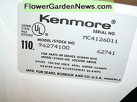 Kenmore Model Number Tag