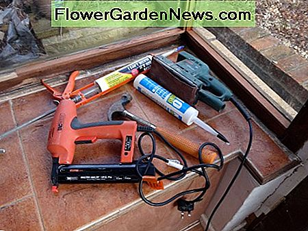 Tools used to fit beading in place and make good; no nails adhesive, staple gun, hammer if required, sander, and silicone for bead between glass and wood to finish.