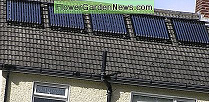 Solar water panels on a roof