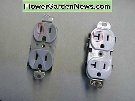 Visible difference between a 15-amp (gray, on left) and a 20-amp outlet (white, on right); note the slot shape circled in red.