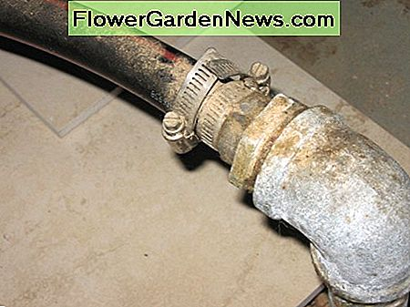 In this author's illlustration, you can see the galvanized elbow which is attached to the top of the last driven section of well point pipe. The black flexible hose attached to this side of the point leaves and enters at the check valve side of pump.
