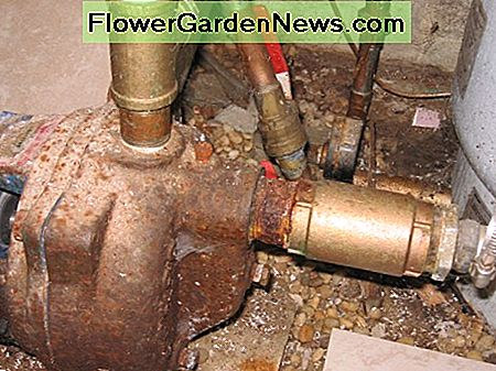 The brass check valve in this photo is on the right side of the water pump. This is where the main water supply enters the pump from the line running from your newly driven well point.