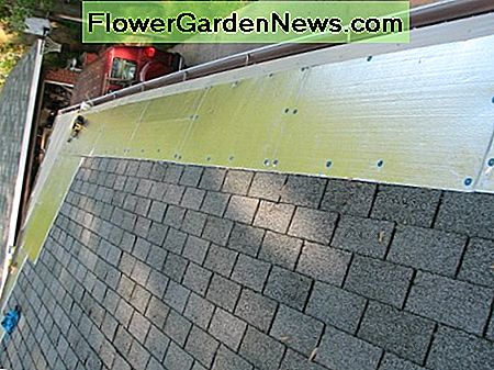 metal flashing is attached on top of the foam sheeting
