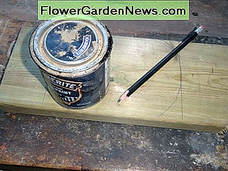 1L tin of paint used as template for rounding off corners