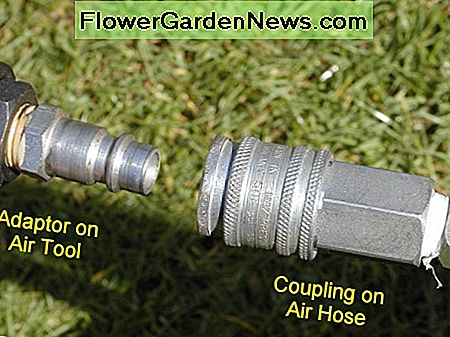 Quick release push fit connectors on an air hose and air tool. Air hoses can be permanently attached to tools using screwed fittings. However quick release fittings are more convenient