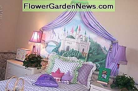 Wallpaper murals are used in this princess themed bedroom.