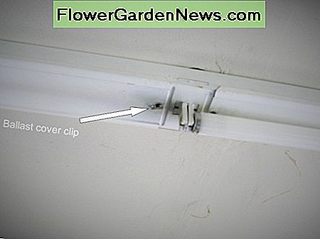 In this typical shop light the entire fixture cover is also the ballast cover. Twist the clip 90 degrees, lift off that end and slide the cover towards the clip.