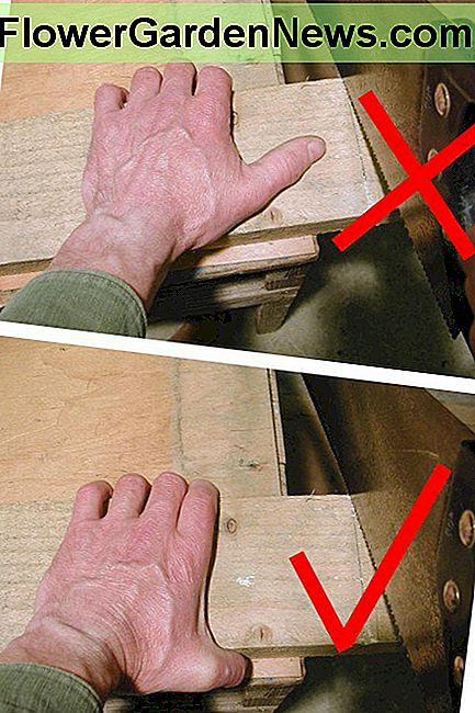 Keep your thumb out of the way in case the saw slips!