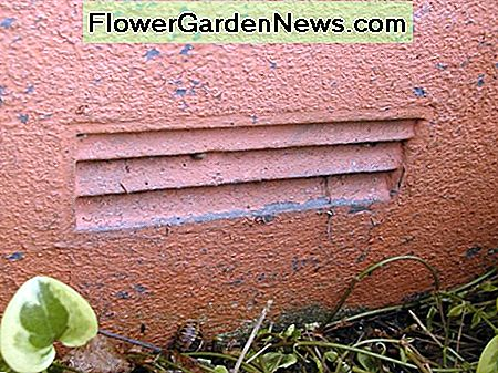 Vents at the base of walls should be unobstructed by vegetation and raised flower beds