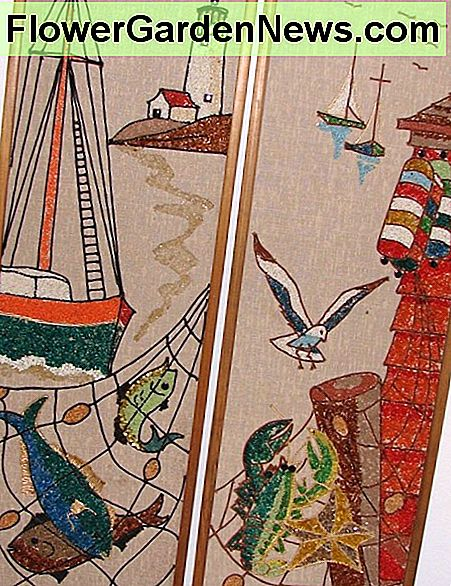These are adorned with a seascape, coastline, ocean life, lighthouse, and boats. Each measures 36 inches tall x 12 inches wide and has wood trim on the side edges.
