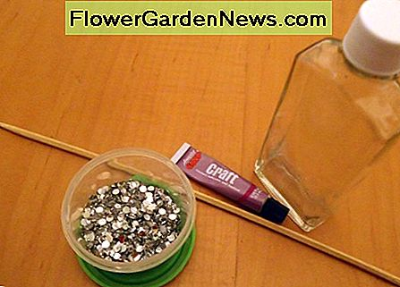 Supplies needed for rhinestone covered bottles.