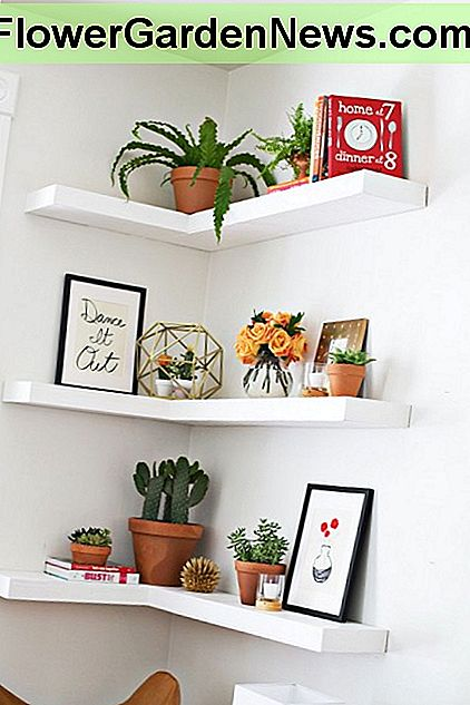 This set of floating shelves draw the eye up while adding room for knick knacks in otherwise wasted corner space.