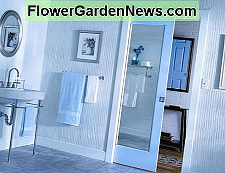 For small bathrooms pocket doors are becoming more and more utilized as a space saving door.