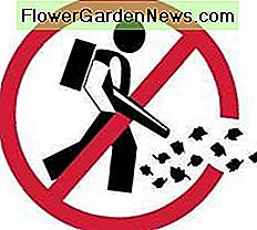 Sign showing that leaf blowers are banned in an area.