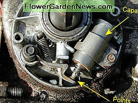 Points and capacitor (originally called a condenser): If the rubber seal on the crankshaft is faulty, oil can accumulate in this compartment and splash onto the points, causing misfiring.