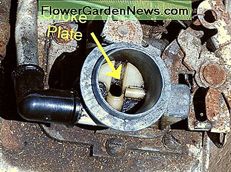 Carburetor air intake showing choke plate (air filter has been removed) on a small 3 1/2 HP Briggs and Stratton engine.