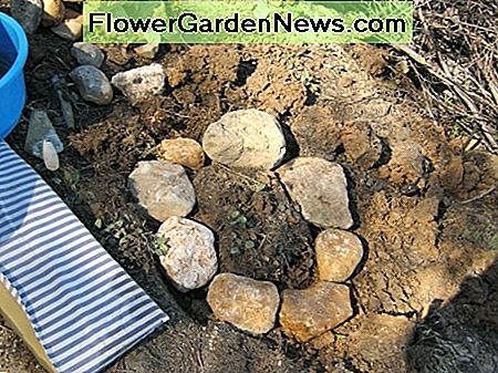 Dig a trench and use bigger heavy stones sitting on a layer of mortar for your foundation