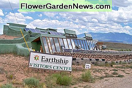 Earthship Demonstration Project - This is like a real estate model home, showing the window side of this fully sustainable house.