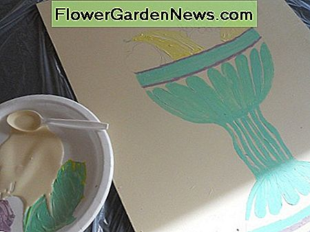 Next I drew in some detail and added fruit and started to paint. I mixed my paint on a paper plate.