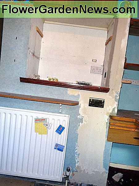 New socket screwed in place and wall ready for decorating.